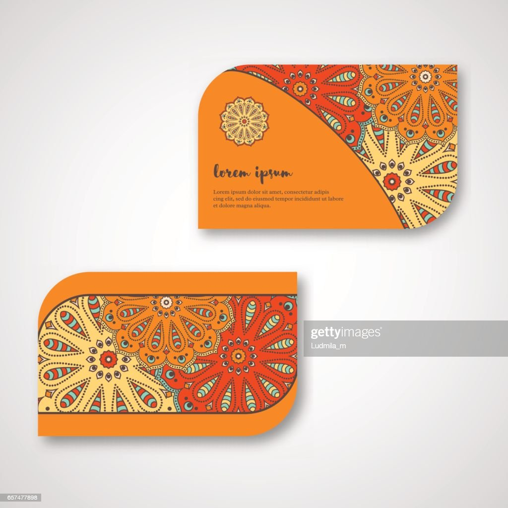 Set of ornamental hand drawn mandala cards