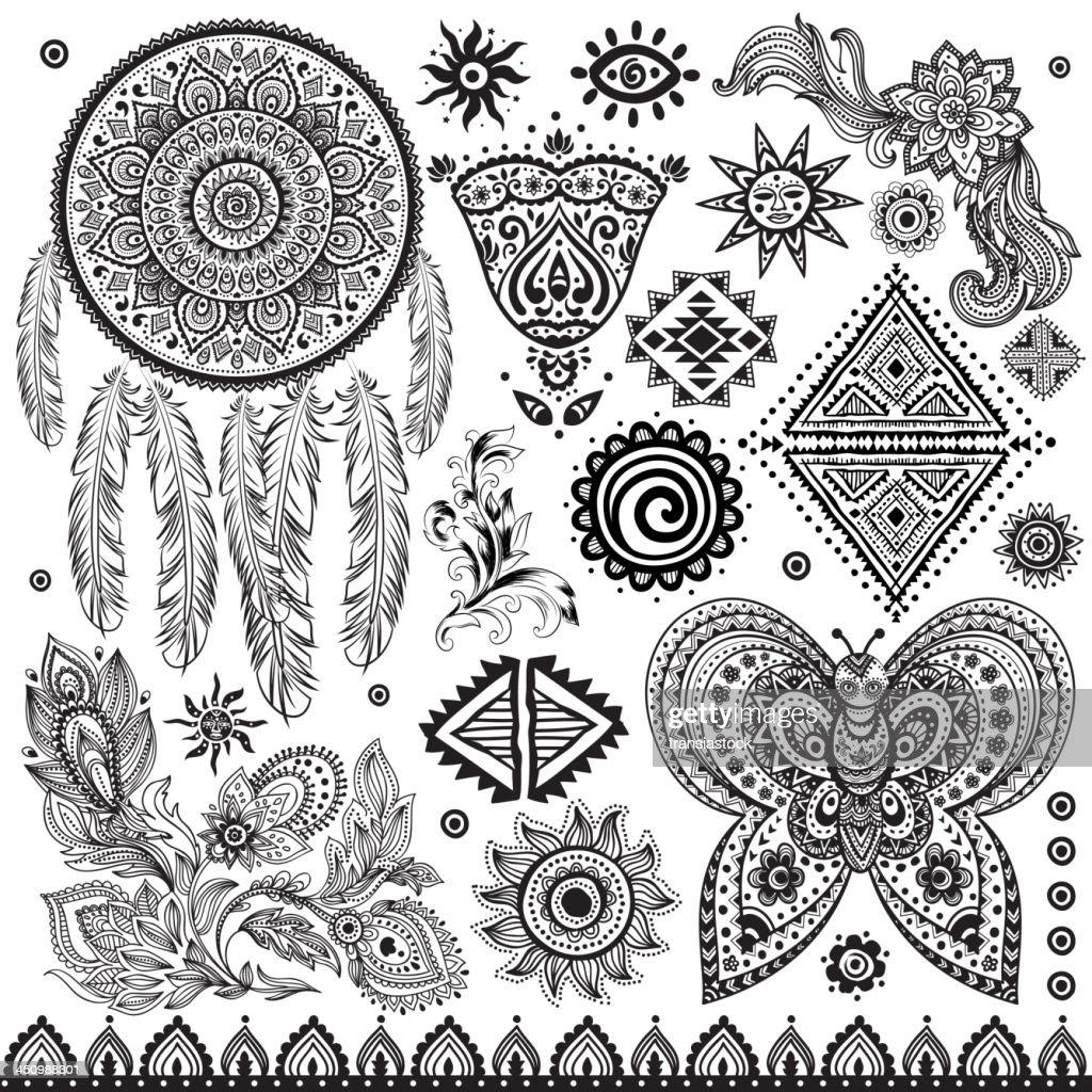 Set Of Ornamental Indian Elements And Symbols Vector Art Getty Images