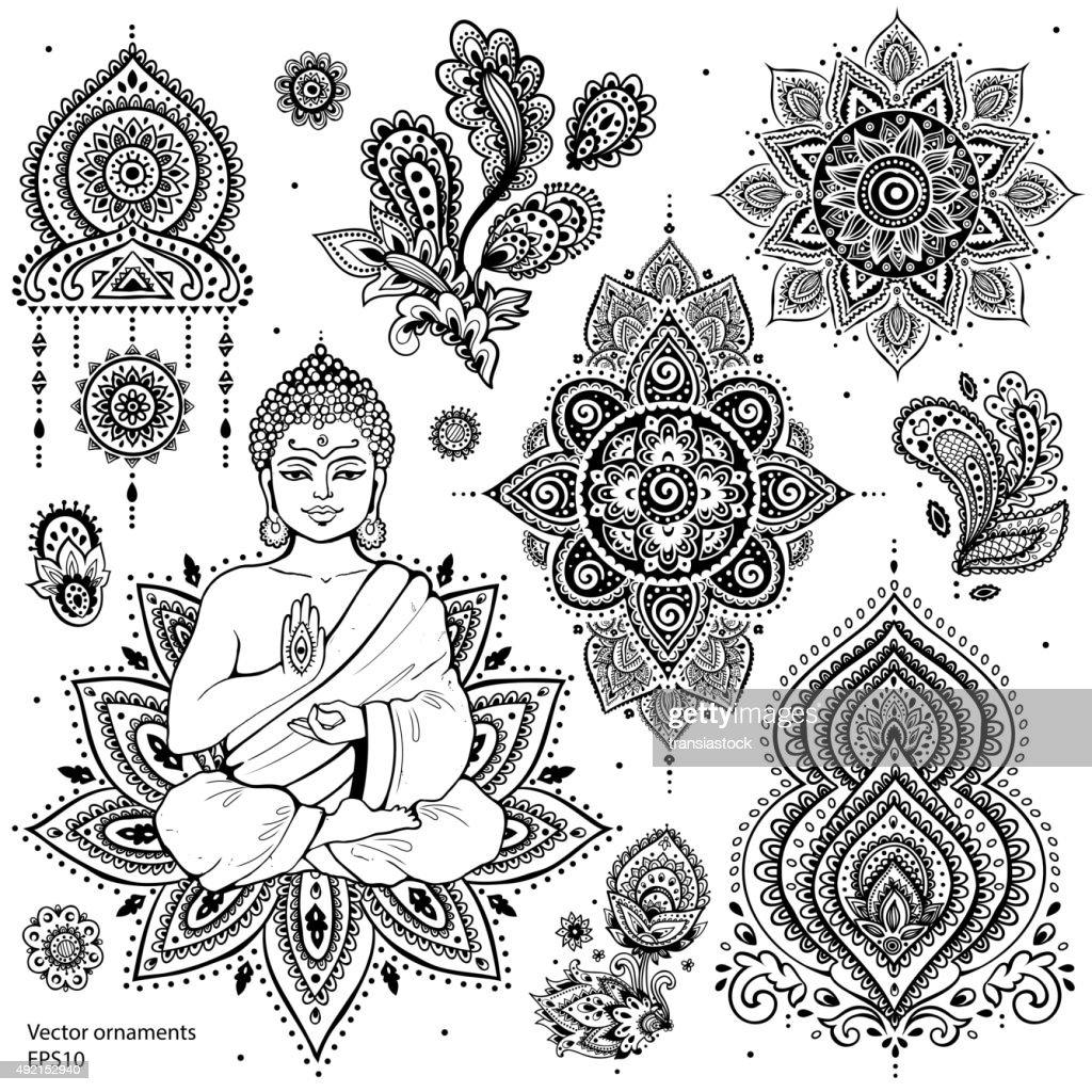 Set of ornamental Indian symbols