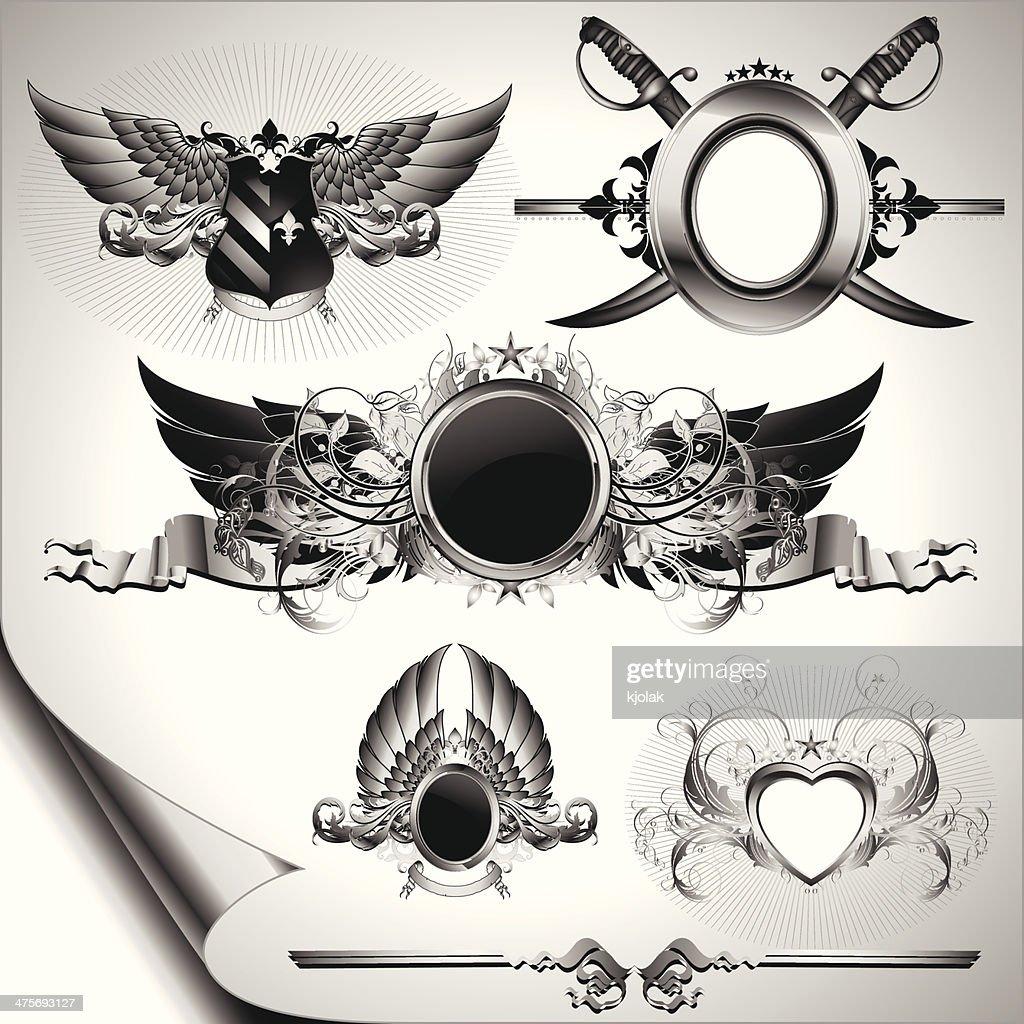 set of ornamental labels