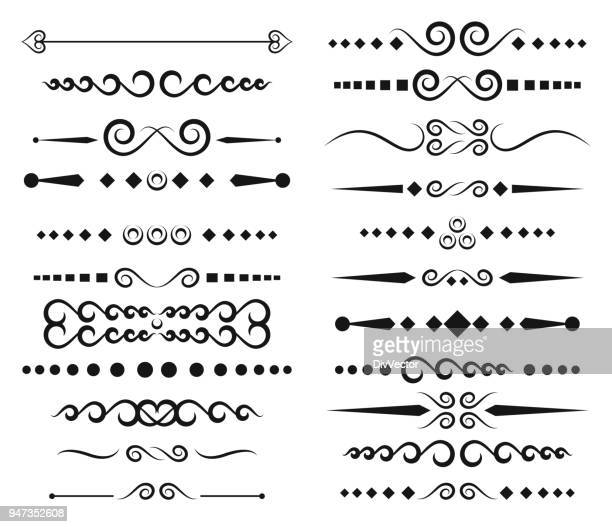 set of ornamental rule lines - filigree stock illustrations