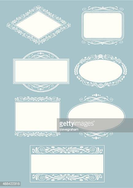 set of ornate frames and labels - memorial plaque stock illustrations, clip art, cartoons, & icons