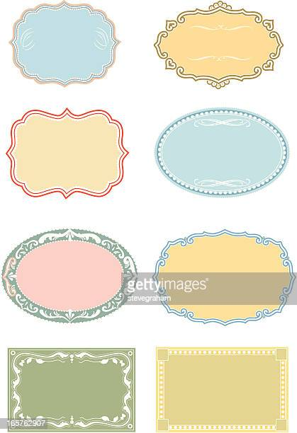 set of ornate frames and panels - memorial plaque stock illustrations, clip art, cartoons, & icons