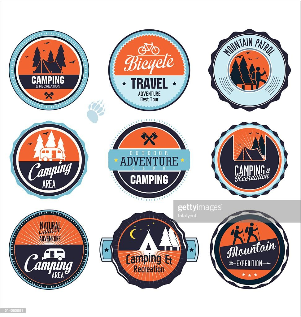 Set of outdoor adventure blue and orange labels