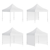 Set of outdoor canopy tents mockups isolated on white background