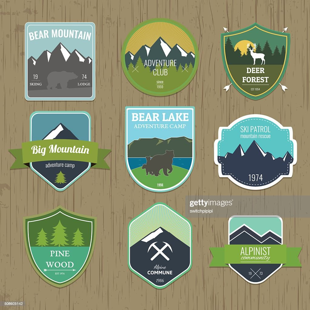 Set of outdoors adventure and expedition badges and labels