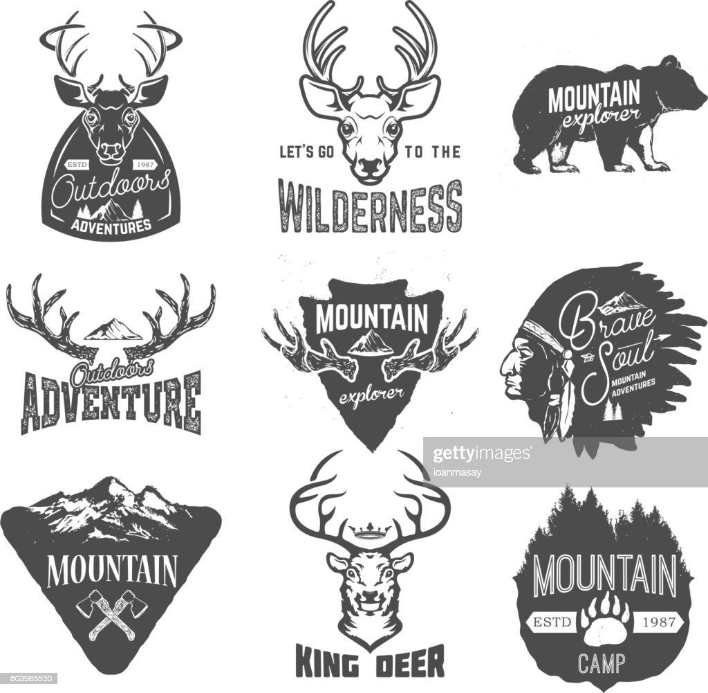 Set of outdoors adventures, mountains exploration labels