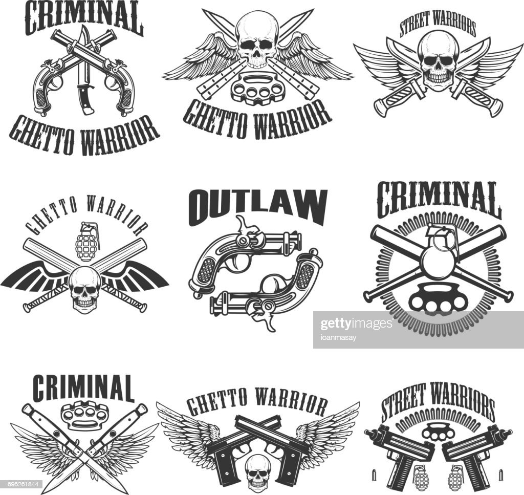 Set of outlaw, criminal, street warrior emblems. Skulls with wings, guns and swords. Design elements for label, emblem, sign, poster, t-shirt. Vector illustration