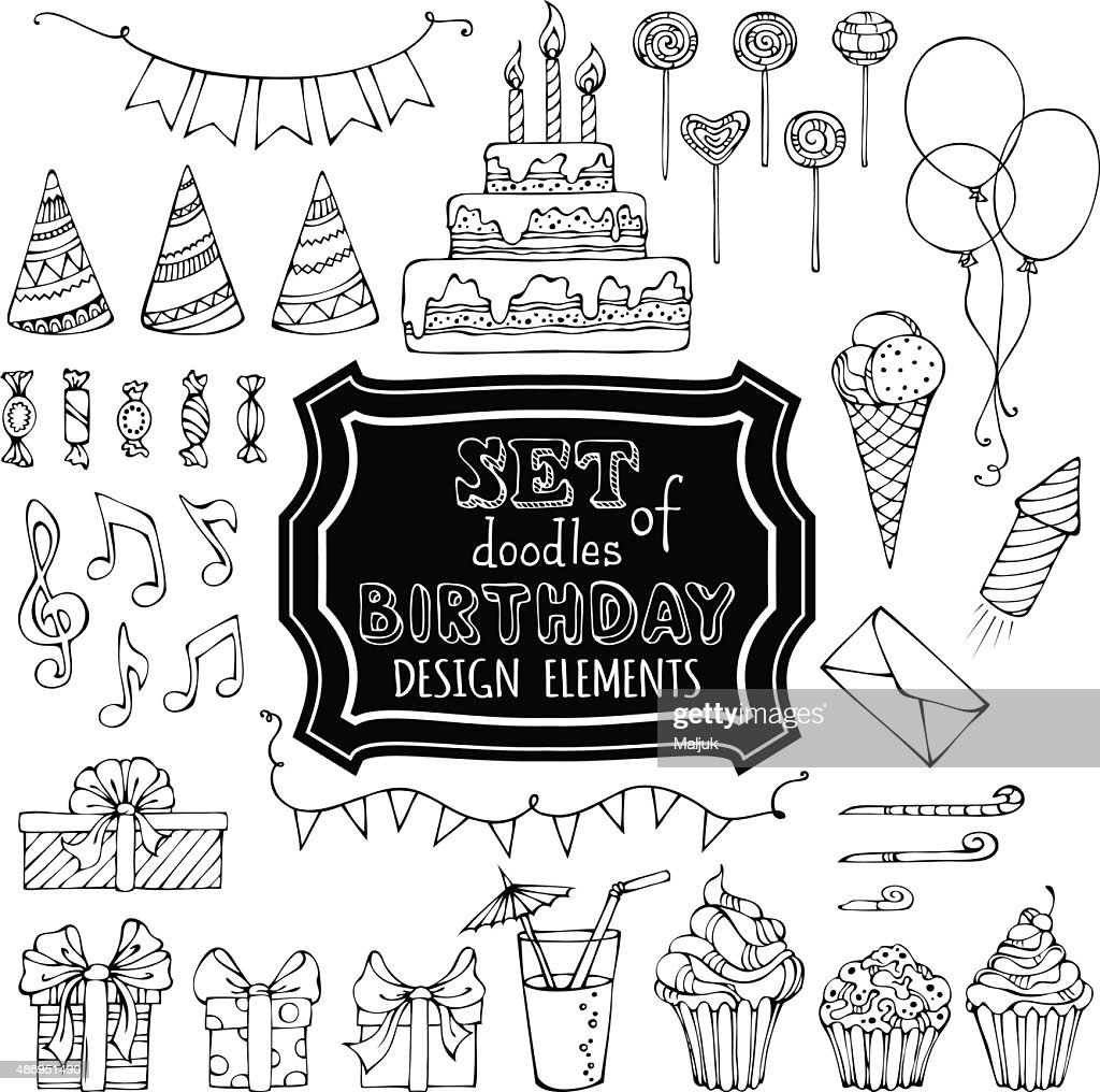 Set of outline birthday design elements.