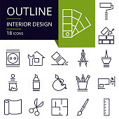 Set of outline icons of Interior Design.