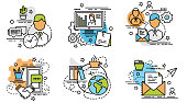 Set of outline icons of Knowledge.