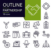 Set of outline icons of Partnership.