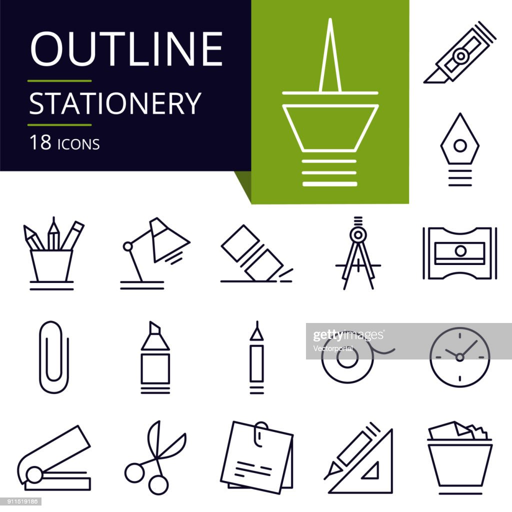 Set of outline icons of Stationery.