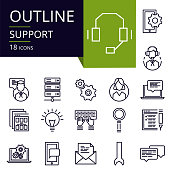 Set of outline icons of Support.