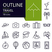 Set of outline icons of Travel.