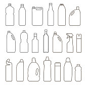 Set of outline illustration bottles, cans, container