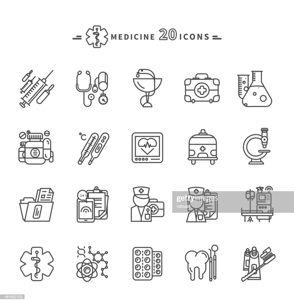 Set of Outline Medicine Icons on White Background