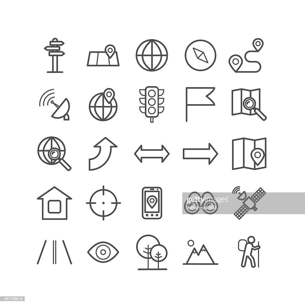 Set of outline navigation icons