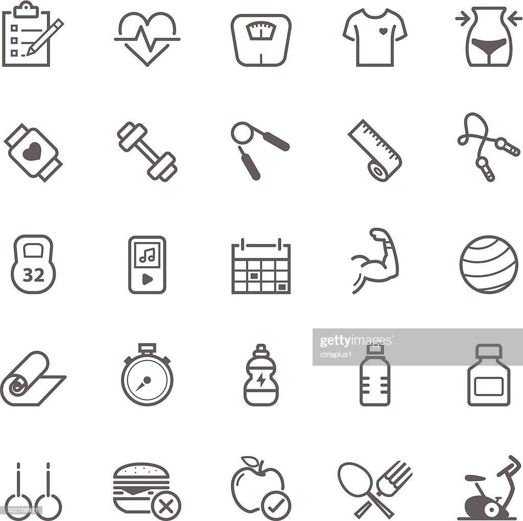 Set of Outline stroke Fitness icons