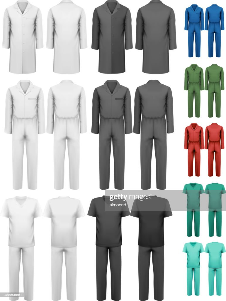 Set of overalls with worker and medical clothes.