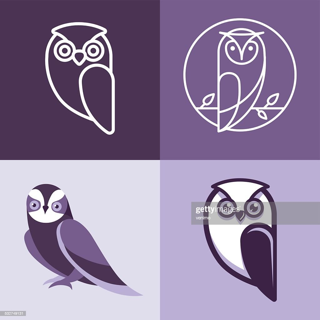 Set of owl logos and emblems