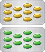 Set of Package of pills. Group of realistic yellow green pharmaceutical drugs.