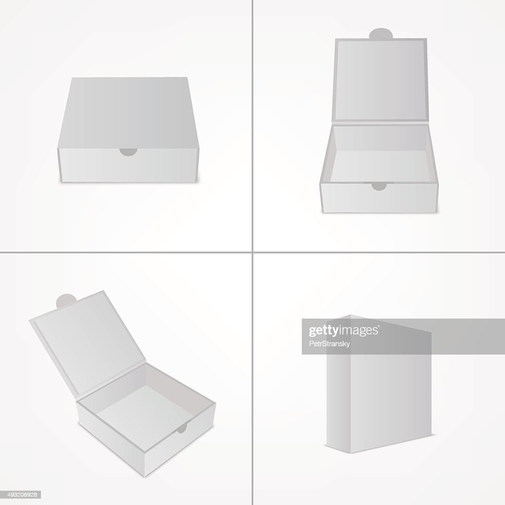 Set of packaging design mockup. Gray box in four views