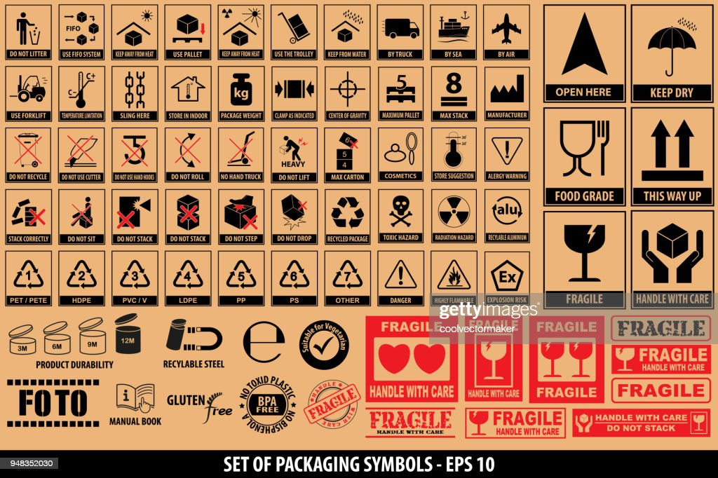 Set of packaging symbols, tableware, plastic, fragile symbols, cardboard symbols