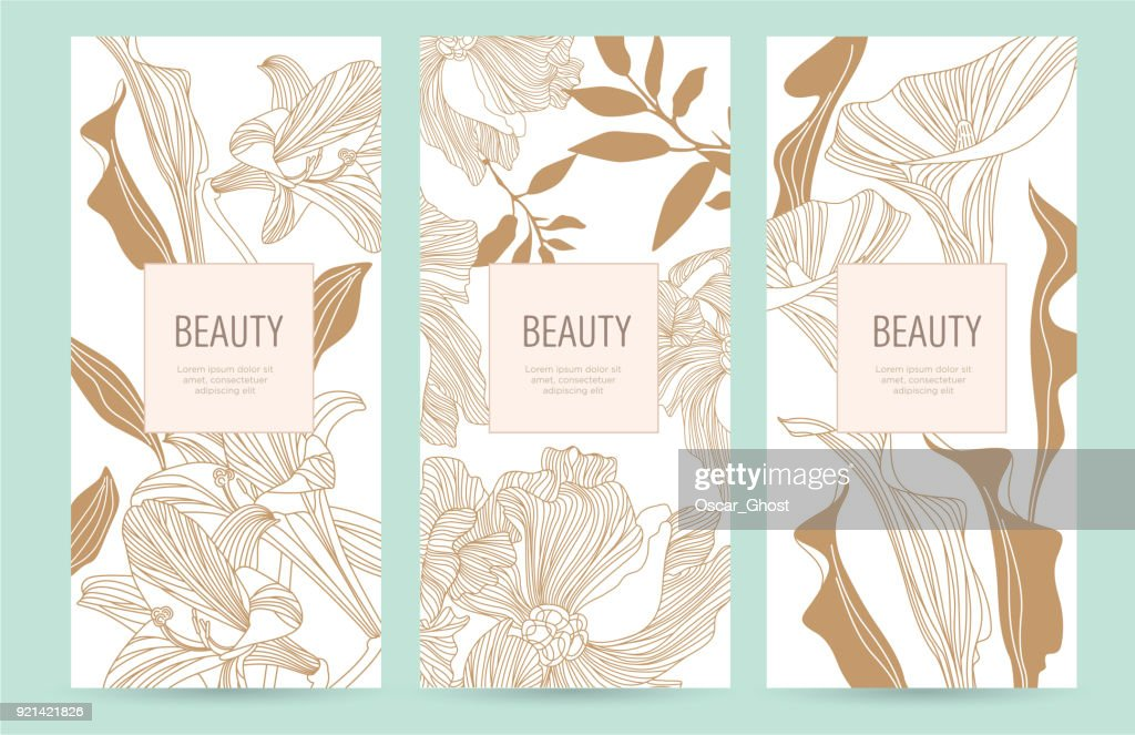 A set of packaging templates with gold flowers for luxury products