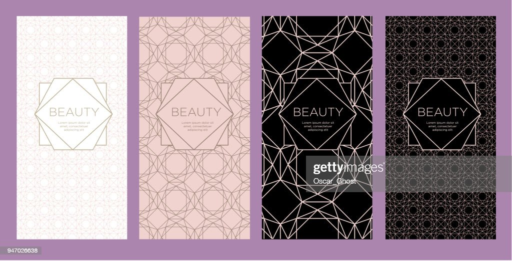 A set of packaging templates with with an abstract geometric pattern for luxury products