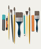 Set of paint brush on white background