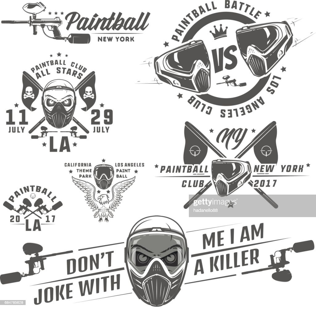 Set of paintball,paintball design,paintball tattoo.