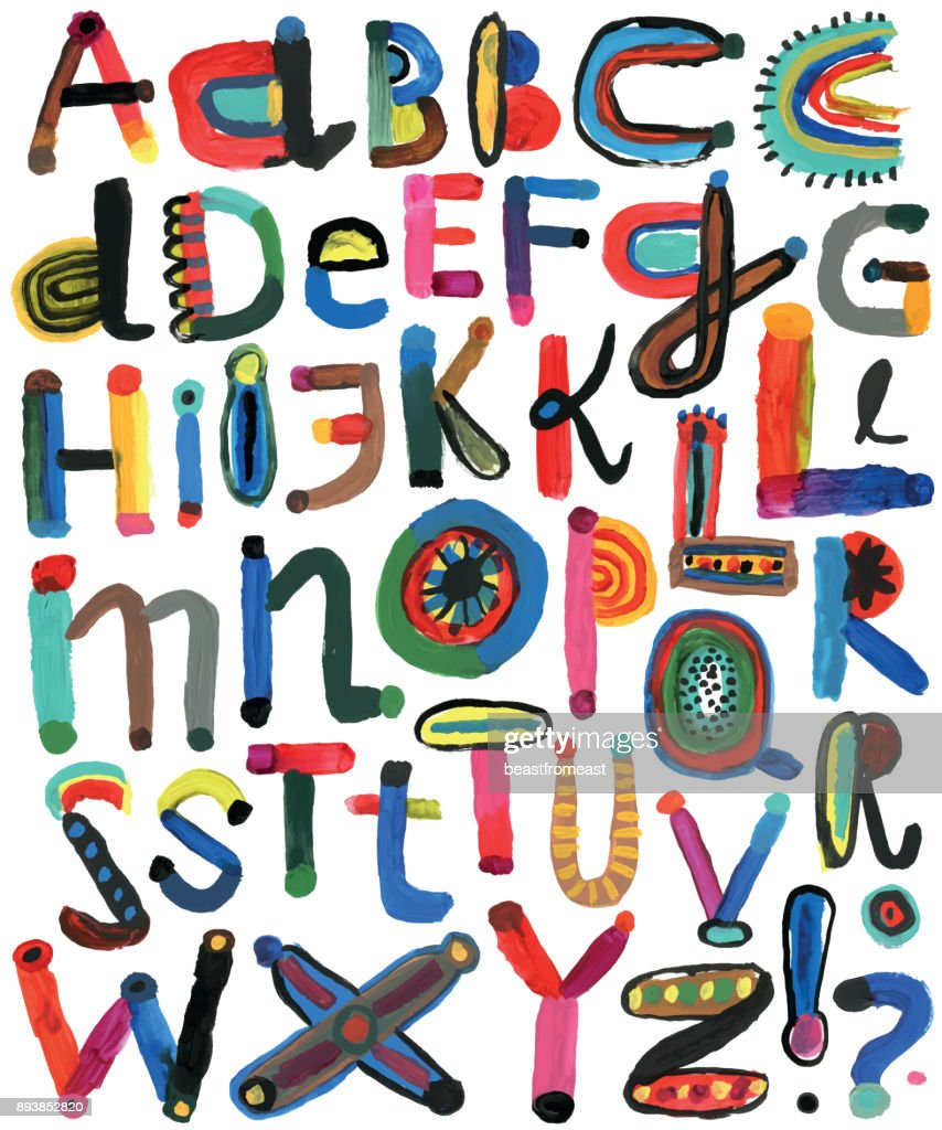 Set of painted alphabet letters