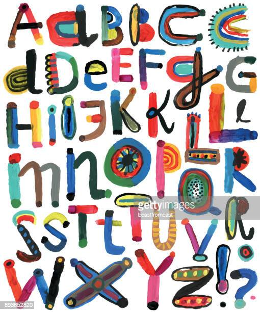 set of painted alphabet letters - art stock illustrations