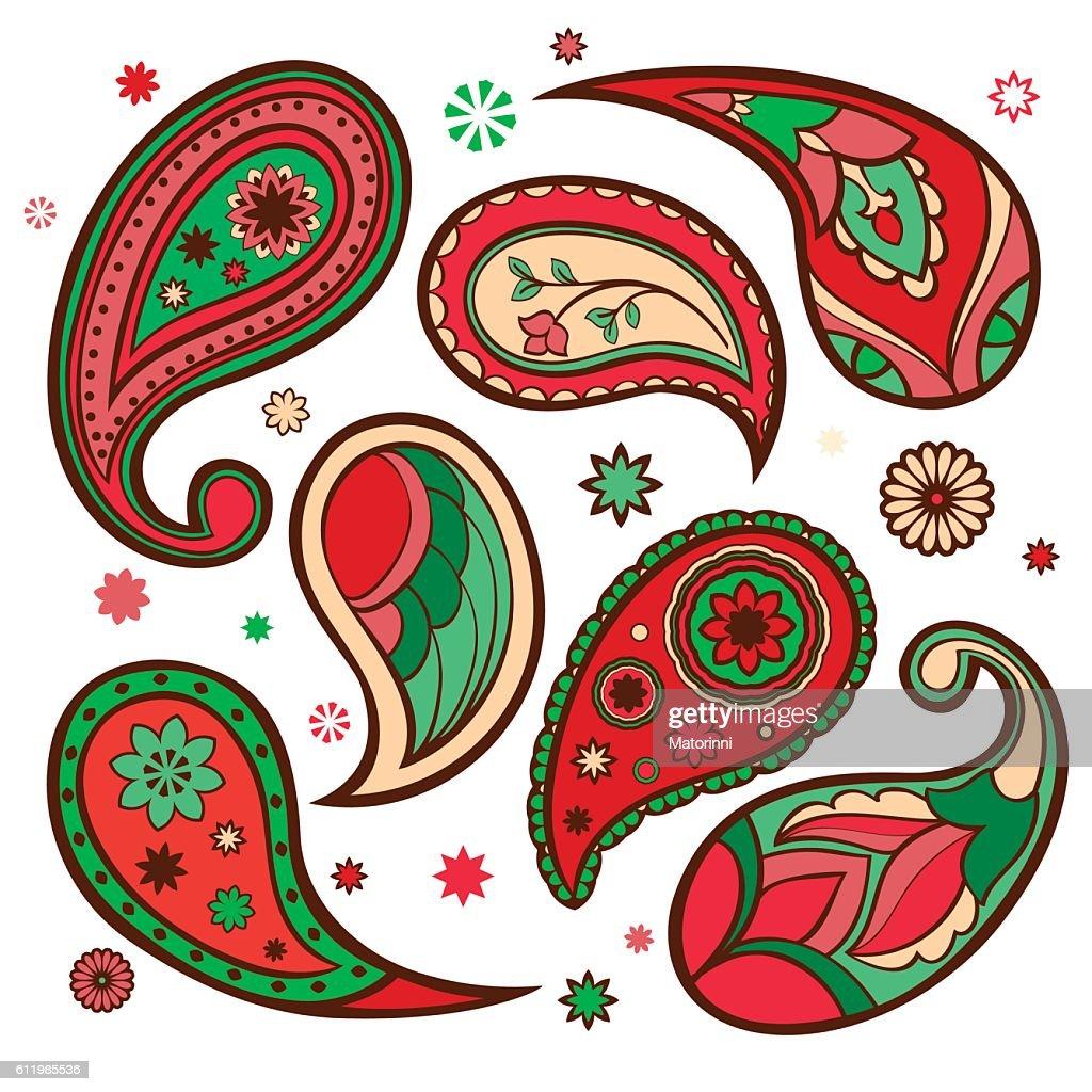 Set of paisley patterns.