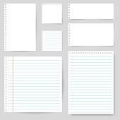 Set of paper blank with line for note, mail, shcool. Torn sheet of paper page. Square and lined paper for notice, write memo, text. Empty ripped notepaper on isolated background. vector