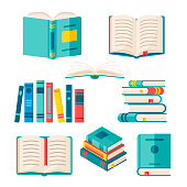 Set of paper books with colorful hard cover isolated on white background. Vector flat illustration. Pile of literature with bookmark.