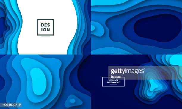 set of paper cut background. blue abstract wave shapes - trendy 3d design - water stock illustrations