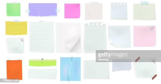 set of paper different shapes and colors tears isolated on white background - newspaper stock illustrations