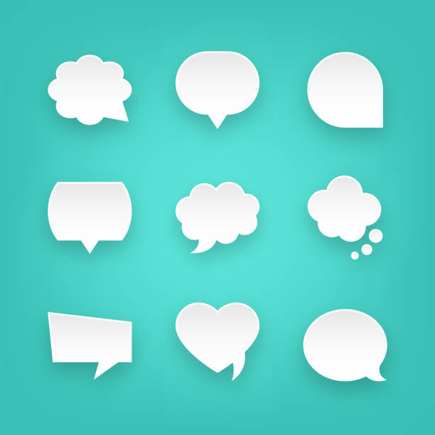 set of paper speech bubbles and communication graphic design elements. for mobile and web. - bubble stock illustrations