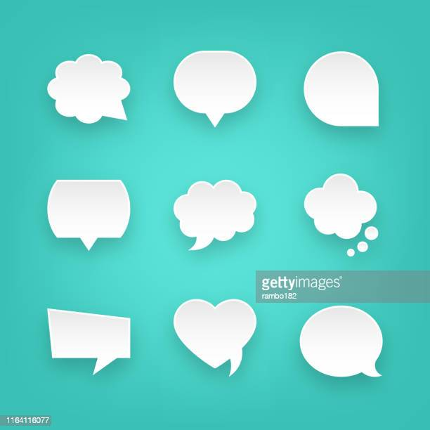 set of paper speech bubbles and communication graphic design elements. for mobile and web. - giving speech stock illustrations