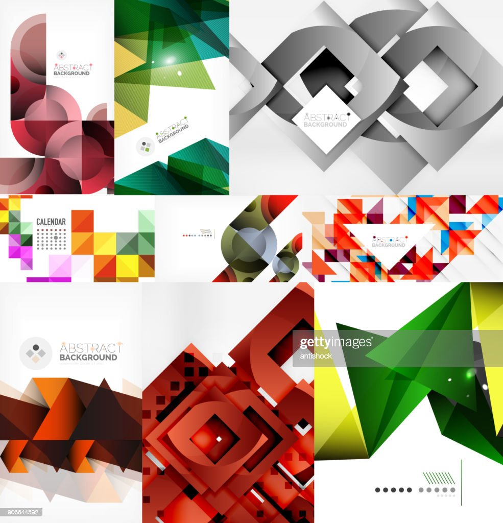 Set of paper style geometric abstract backgrounds