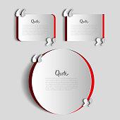 Set of papercut Quote text bubbles