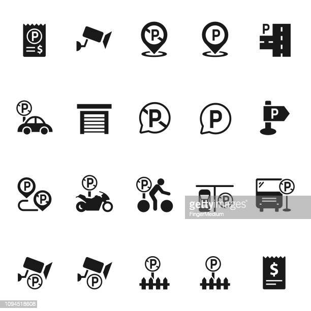 set of parking icon - parking sign stock illustrations