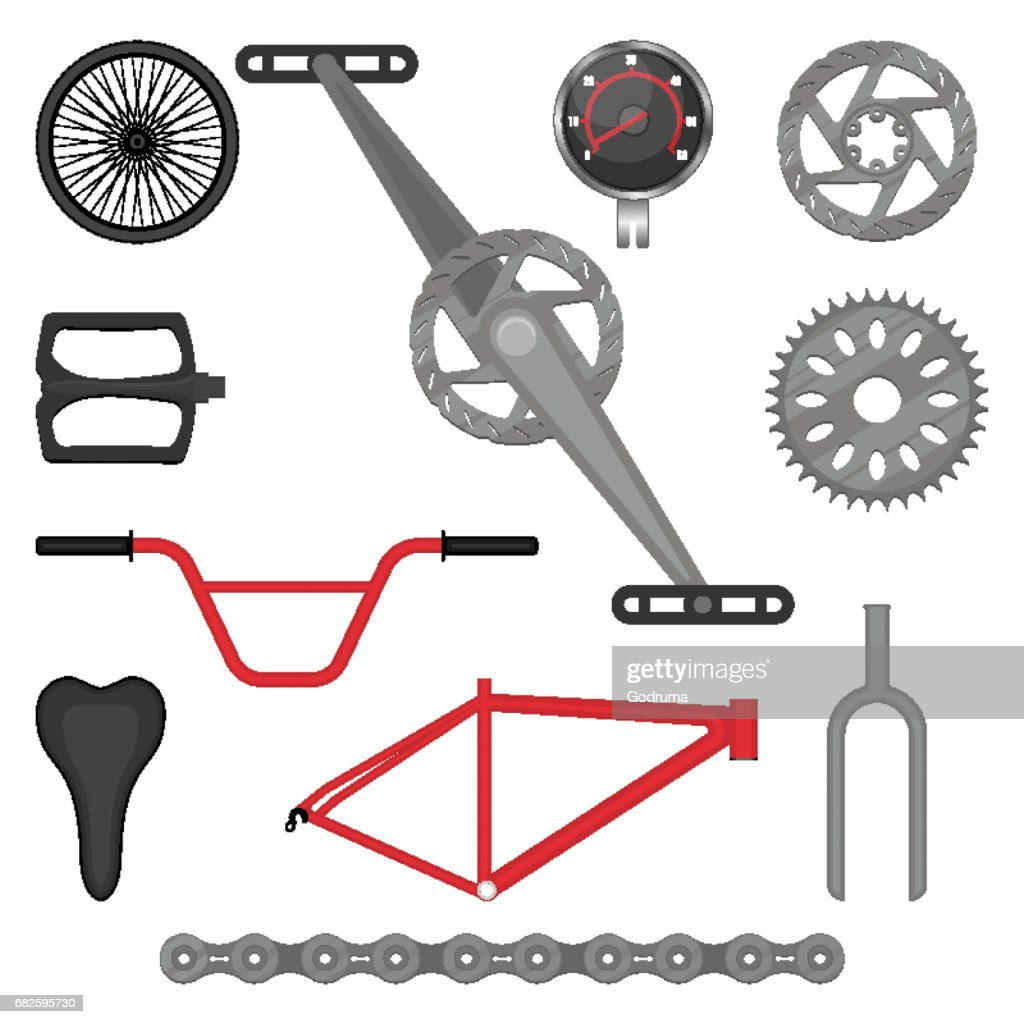 Set of parts for BMX bike off-road sport bicycle vector