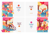 Set of pastel bright banners with sport girls in gradient flat style