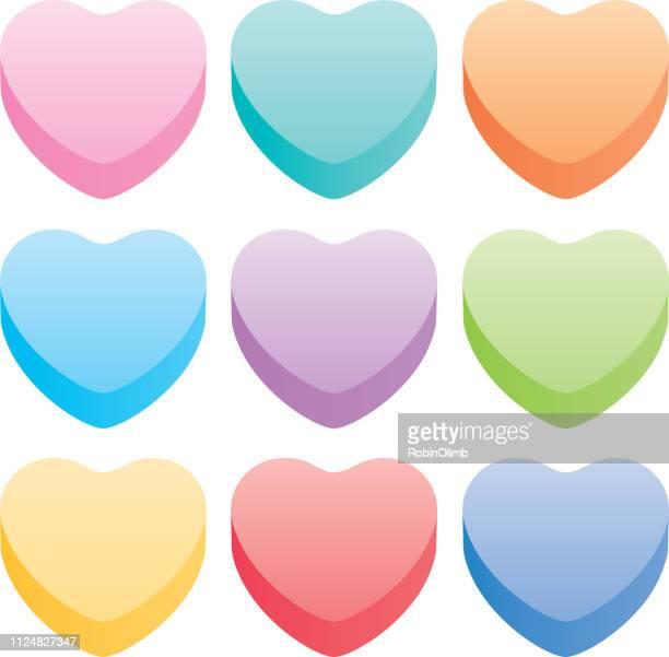 ilustraciones, imágenes clip art, dibujos animados e iconos de stock de conjunto de corazones pastel - golosina