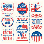 Set of patriotic design elements to encourage voting in United States elections.
