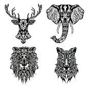 Set of Patterned heads of lion, deer, wolf, elephant.