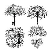 Set of patterned openwork trees as a symbol or logo